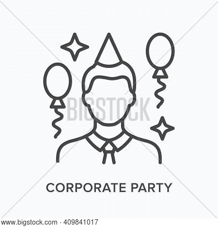 Corporate Party Flat Line Icon. Vector Outline Illustration Of Person And Baloons. Black Thin Linear