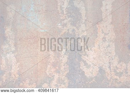 Abstraction Pastel Background With Shades Of Pink, Brown, Gray. Corroded Metal Background. Oxidized