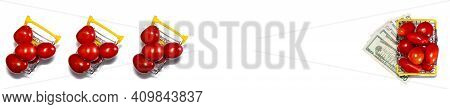 Tomatoes In Shopping Basket Isolated On White Background With Various Us Dollar Bills Underneath It