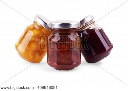 Jars Of Jam Isolated On White Background