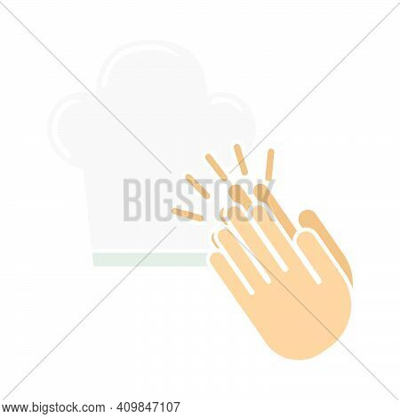 Clapping Palms To Toque Icon. Flat Color Design. Vector Illustration.