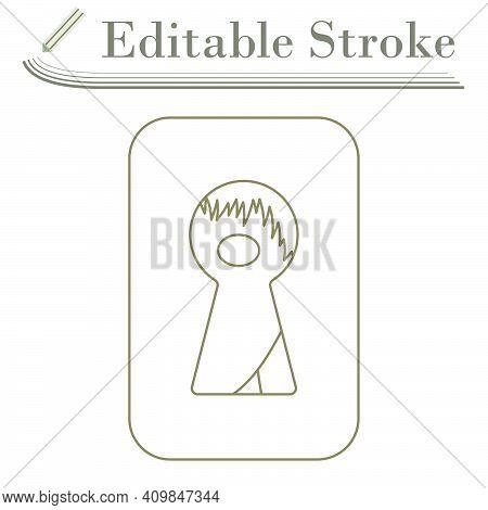 Criminal Peeping Through Keyhole Icon. Editable Stroke Simple Design. Vector Illustration.