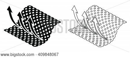 Layer Of Fabric Icon With Cells For Air Circulation. Breathable For Clothing And Hygiene Products. B