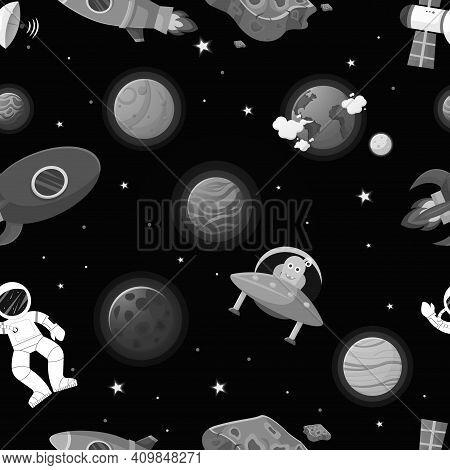 Galaxy Pattern Cartoon Style. Astronaut With