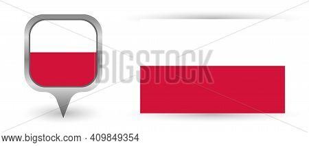 Vector Flag Poland. Location Point With Flag Poland Inside