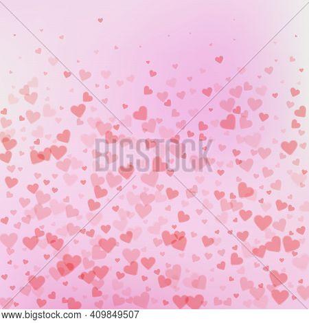 Red Heart Love Confettis. Valentine's Day Gradient