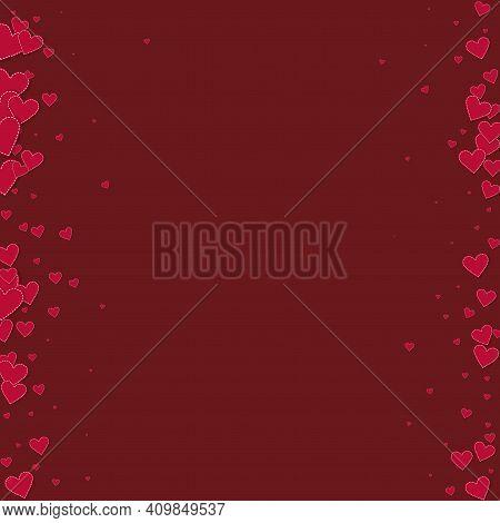 Red Heart Love Confettis. Valentine's Day Borders