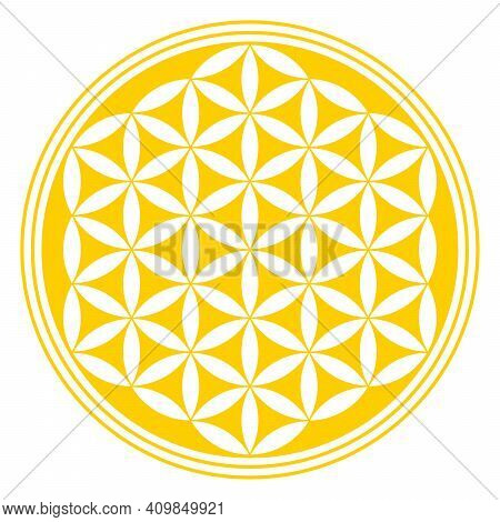Inverted Golden Flower Of Life. A Geometrical Figure, Spiritual Symbol And Sacred Geometry. Overlapp