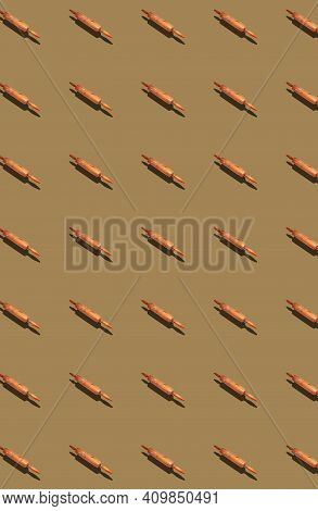 Vertical Pattern With Wooden Rolling Pins For Rolling Out Dough. Templates, Prints.