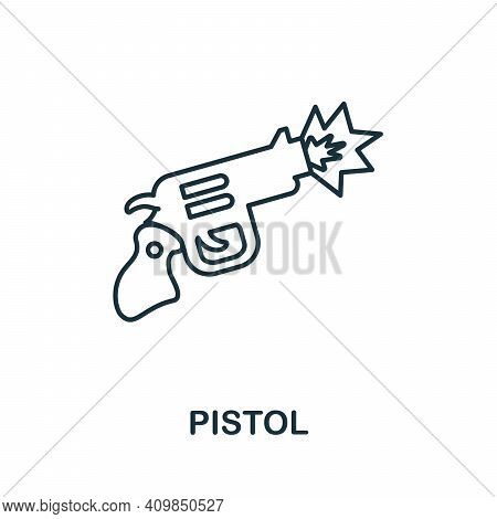 Pistol Icon. Simple Element From Police Collection. Creative Pistol Icon For Web Design, Templates,