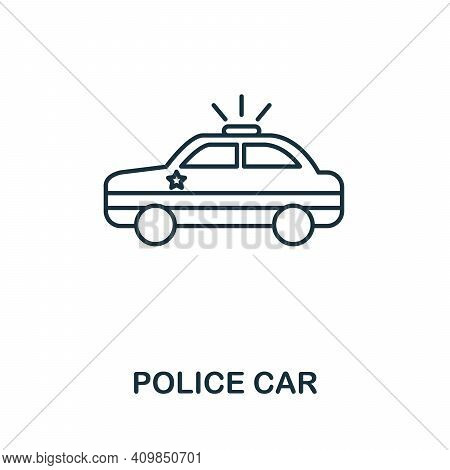 Police Car Icon. Simple Element From Police Collection. Creative Police Car Icon For Web Design, Tem