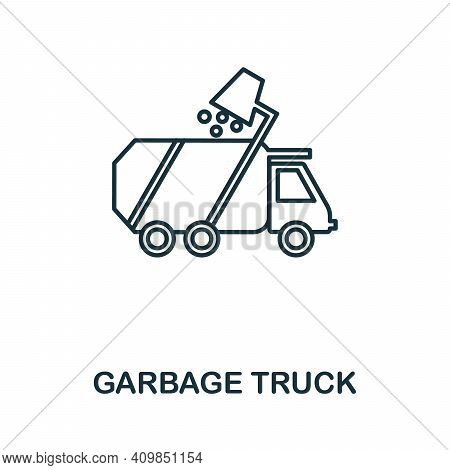Garbage Truck Icon. Simple Illustration From Recycling Collection. Creative Garbage Truck Icon For W