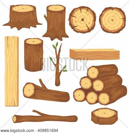Variety Of Wood Logs And Trunks Flat Pictures Set For Web Design. Cartoon Wooden Lumbers, Planks And