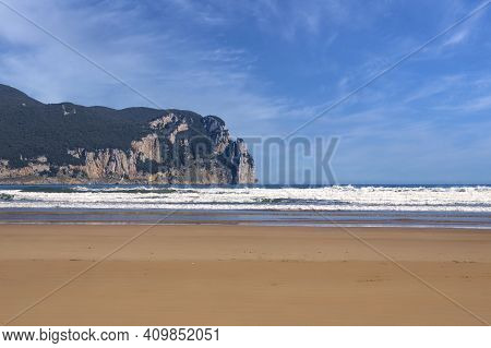 Beach On The Cantabrian Coast With A Mountain Background