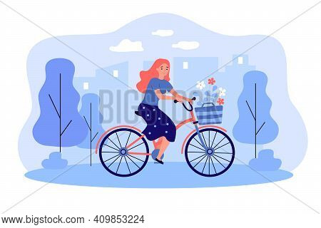 Happy Girl Riding Retro Bicycle With Bouquet Of Flowers In Basket. Woman Cycling In City Park. Vecto