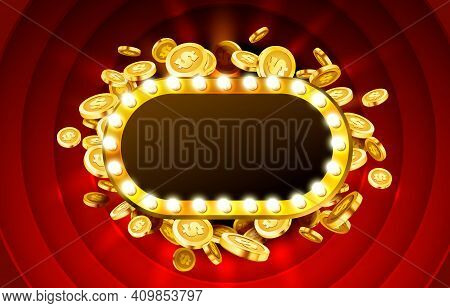 Casino Lamp Frame With Gold Realistic 3d Coins Background. Vector