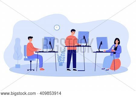Ergonomic Workplaces Vector Illustration. Office Employees Using Computers While Standing At Desk Or