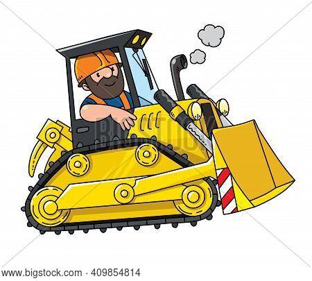 Construction Worker In A Bulldozer. Vector Cartoon