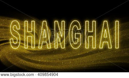 Shanghai Gold Glitter Lettering, Shanghai Tourism And Travel, Creative Typography Text Banner, On Bl