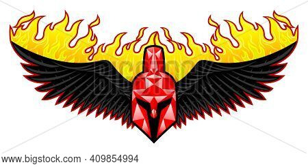 Spartan Helmet Icon With Fiery Wings On White Background.