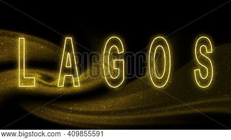Lagos Gold Glitter Lettering, Lagos Tourism And Travel, Creative Typography Text Banner, On Black Ba