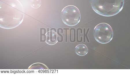 Shampoo Bubbles Floating Like Flying In The Air By Wind Blow