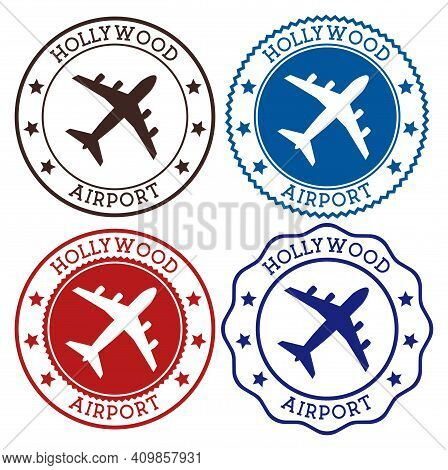 Hollywood Airport. Fort Lauderdale Airport Logo. Flat Stamps In Material Color Palette. Vector Illus