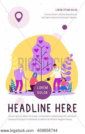 Happy Family Growing Tree With Hearts. Romance, Care, Growth Flat Vector Illustration. Love And Rela