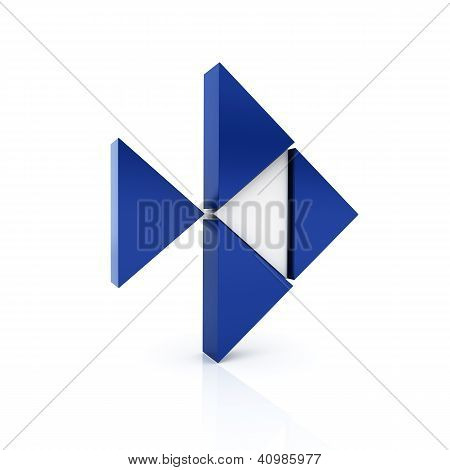 Abstract Blue Metallic Symbol With Fish Shape And Triangles.