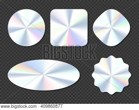 Holographic Stickers, Hologram Labels Of Different Shapes. Round, Square, Oval, Rhombus And Wavy Iri
