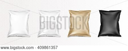 Foil Bag With Clear Window, Doypack For Food Isolated On Transparent Background. Vector Realistic Mo