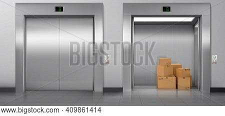 Cargo Elevators With Closed And Open Doors In Hallway. Vector Realistic Empty Modern Interior With L