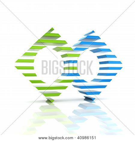 Abstract Color Business Symbol With 2 Elements