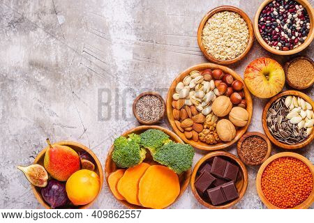 Products Rich In Fiber. Healthy Diet Food. Top View.