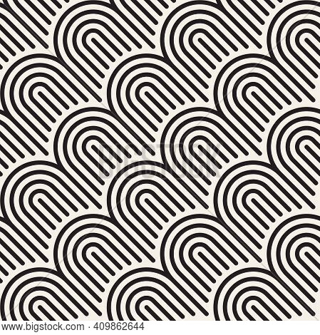 Vector Seamless Geometric Pattern. Stylish Striped Ornament. Simple Linear Lattice Background.