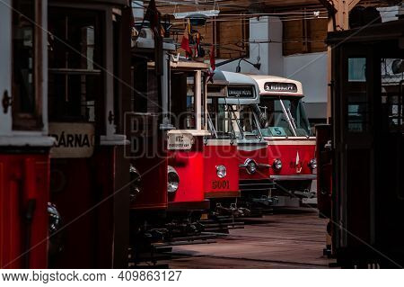 Old Prague Trams In The Depot. Retro Transport, Old Classic Trams