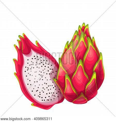 Whole And Half Red Pitaya Fruits Vector Illustration In Cartoon Style. Summer Fruits For Healthy Lif