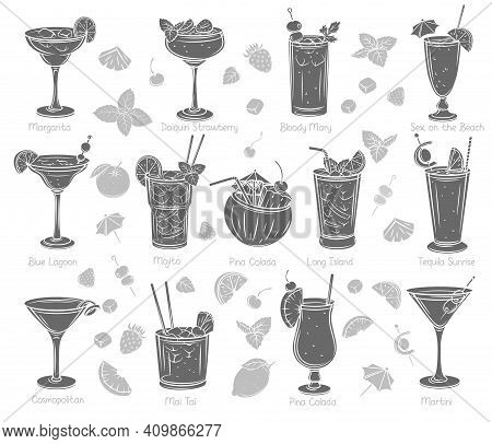 Tropical Cocklails Glyph Icons. Monochrome Isolated Summer Alcoholic Drinks. Long Island, Bloody Mar
