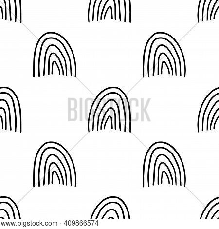 Cute Abstract Doodle Arches, Rainbows Seamless Pattern. Hand Drawn Geometric Background. Round Shape