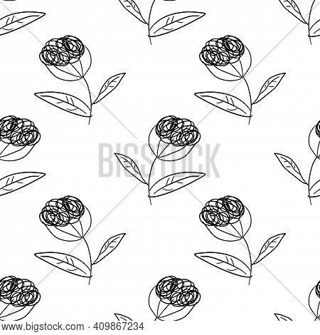 Cute Cartoon Polka Dot Sloppy Flowers In Doodle Style Seamless Pattern. Floral Childlike Style Backg