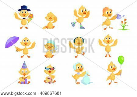 Cartoon Duckling Set. Cute Funny Yellow Baby Chicks Or Ducks Different Activities, Celebrating Birth