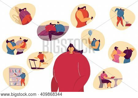 Woman Planning Events For Week Or Month Or Recalling Positive Life Memory. Person Analyzing Her Life