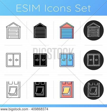Window And Door Installation Service Icons Set. Garage Door. Sliding Sashes Side-to-side. Pet Flap.