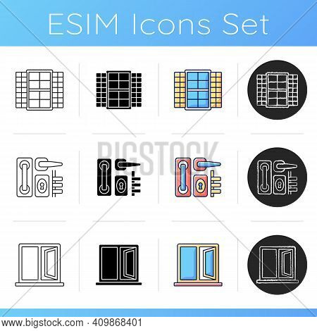 Installation Services Icons Set. Window Shutters. Door Hardware. Casement Window. Movable Cover. Lat
