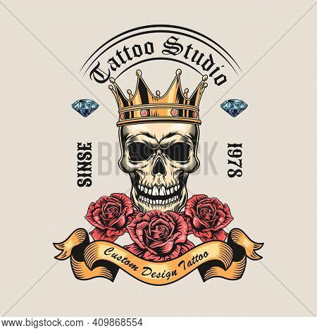 Trendy Vintage Badge With King Skull And Roses Vector Illustration. Colorful Skull In Crown, Diamond