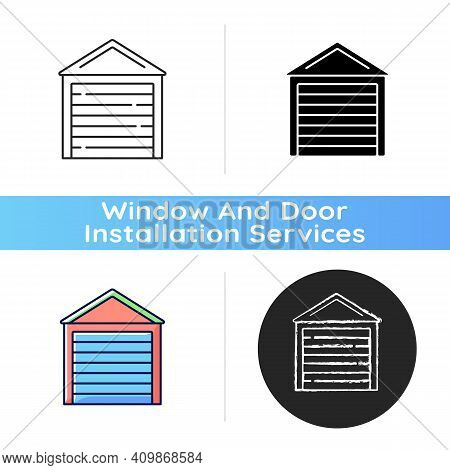 Garage Doors Icon. Storage Space. Parking Car In Garage. Safety And Liability. Keeping Vehicles Exte