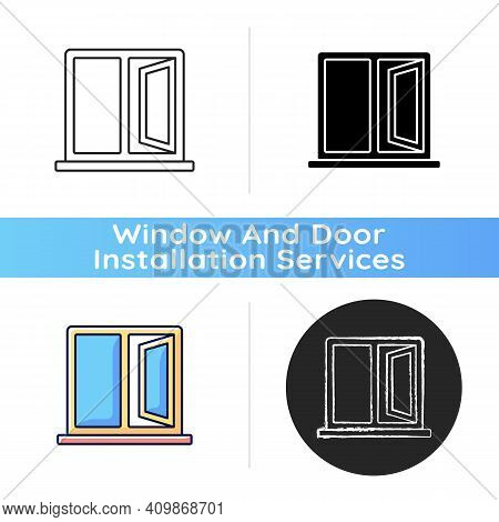 Casement Windows Icon. Movable Window. Preventing Unwanted Airflow Into House. Ventilation Control.