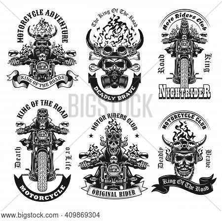Monochrome Labels With Skeleton Riders Vector Illustration Set. Retro Emblems With Motorcyclists On