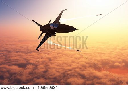 The jet plane on a background of the sky ,3d render
