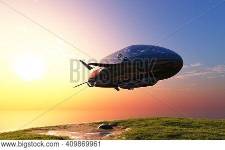 Modern airship over the green grass. ,3d render